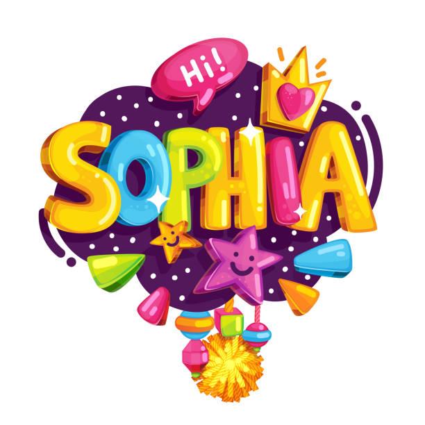 Vector children's emblem of Sophia Name illustration for the girl. Color print it's a girl stock illustrations