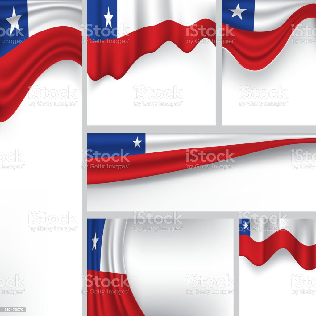 Vector Chile Flag, Chilean Colors (Vector Art) vector art illustration