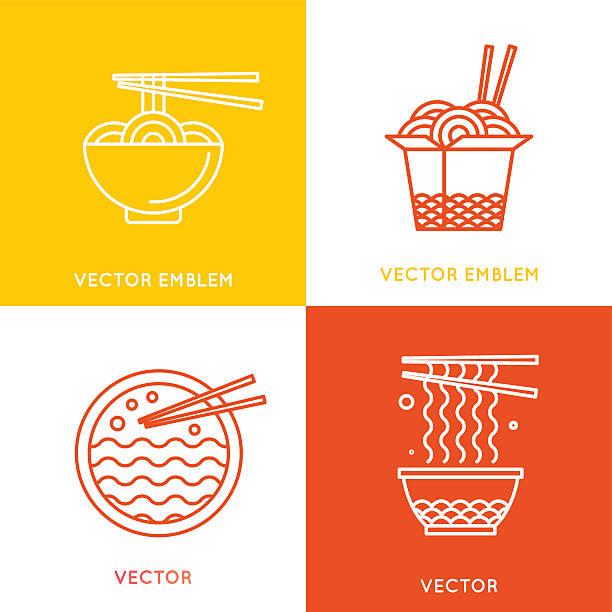 ベクトル中国料理とアジア料理のコンセプト - ラーメン点のイラスト素材/クリップアート素材/マンガ素材/アイコン素材