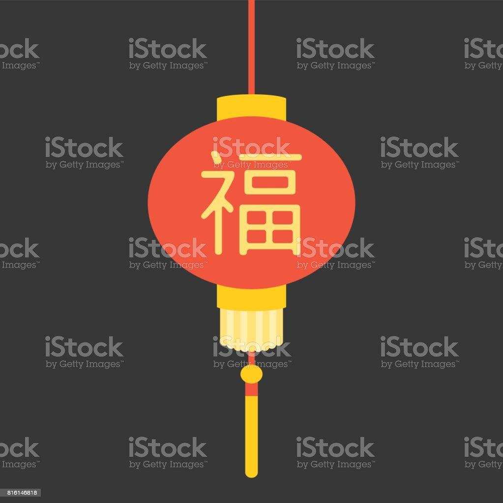 Ilustración De Linterna China De Vector Con El Significado De Letras