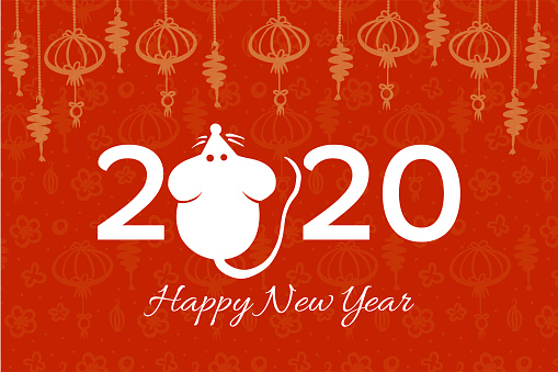 Vector Chinese New year greeting card with hand drawn mouse and chinese style flash light and motives pattern on red, illustration for Christmas and new year design, symbol of 2020 in Chinese calendar