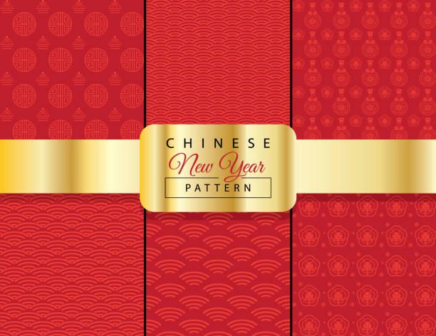 illustrazioni stock, clip art, cartoni animati e icone di tendenza di vector chinese oriental traditional envelope fortune paper pattern background red ornament set - totem fair