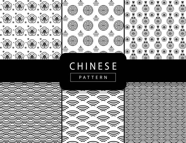 illustrazioni stock, clip art, cartoni animati e icone di tendenza di vector chinese oriental traditional pattern background black and white ornament set print - totem fair