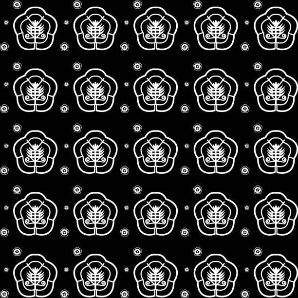 illustrazioni stock, clip art, cartoni animati e icone di tendenza di vector chinese oriental traditional pattern black background and white flowers - totem fair