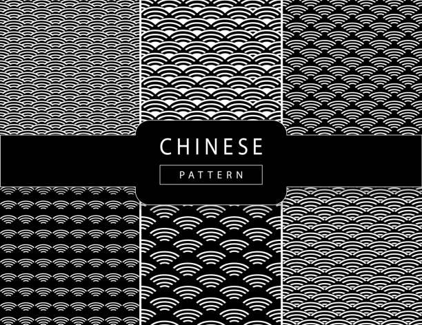 illustrazioni stock, clip art, cartoni animati e icone di tendenza di vector chinese oriental traditional wavy pattern background black ornament set - totem fair