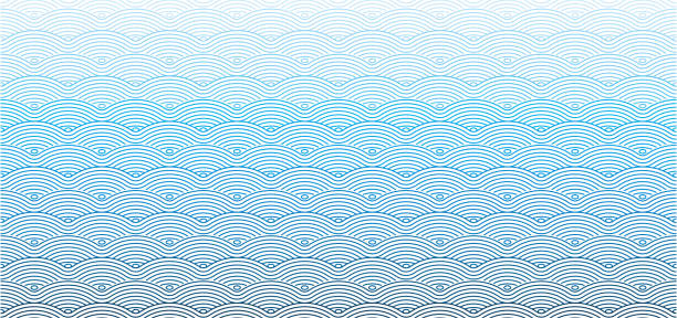 vector chinese traditional wave seamless pattern background - море stock illustrations