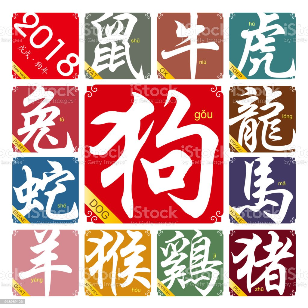 Vector Chinese zodiac signs with the year of the rooster in 2018 vector art illustration
