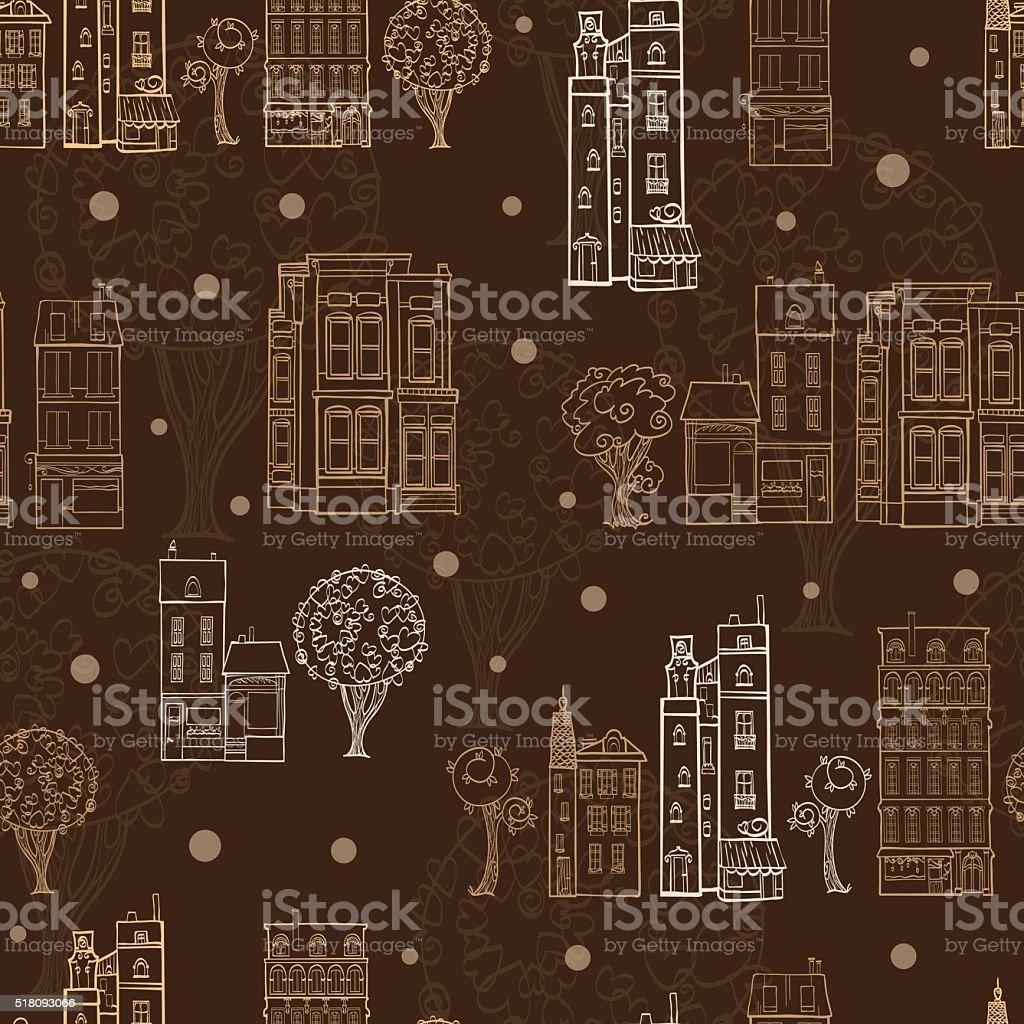 Vektorschokoladenbraun Häusern Bäume Straßen Zeichnung Nahtlose ...