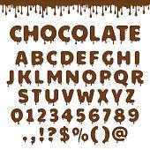 Vector chocolate latin alphabet