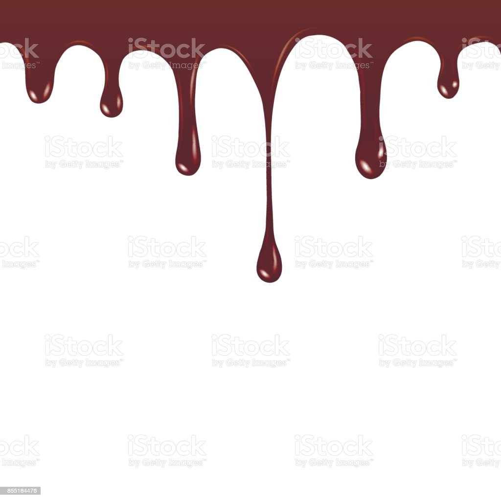 Vector Chocolate syrup drip pattern isolated on a white background. Chocolate streams vector art illustration