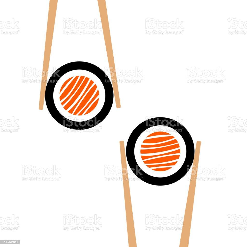 Vector palillos chinos hHolding rollo de sushi bastidor - ilustración de arte vectorial