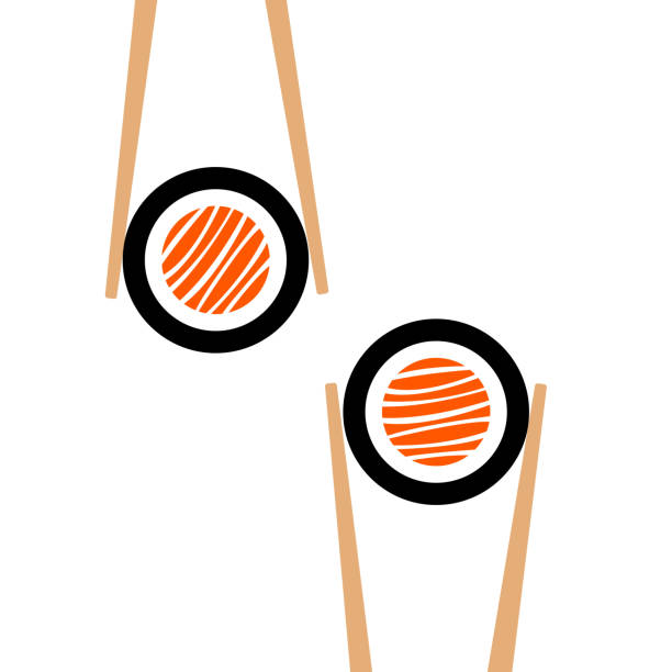 vector chopsticks hholding sushi roll frame - sushi stock illustrations