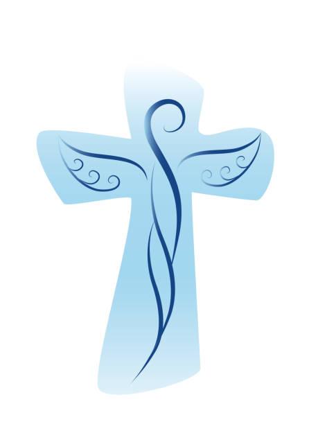 vektor christliches kreuz mit schutzengel - schutzengel stock-grafiken, -clipart, -cartoons und -symbole