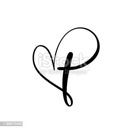 Vector Christian logo Heart with Cross on a White Background. Hand Drawn Calligraphic symbol. Minimalistic religion icon.