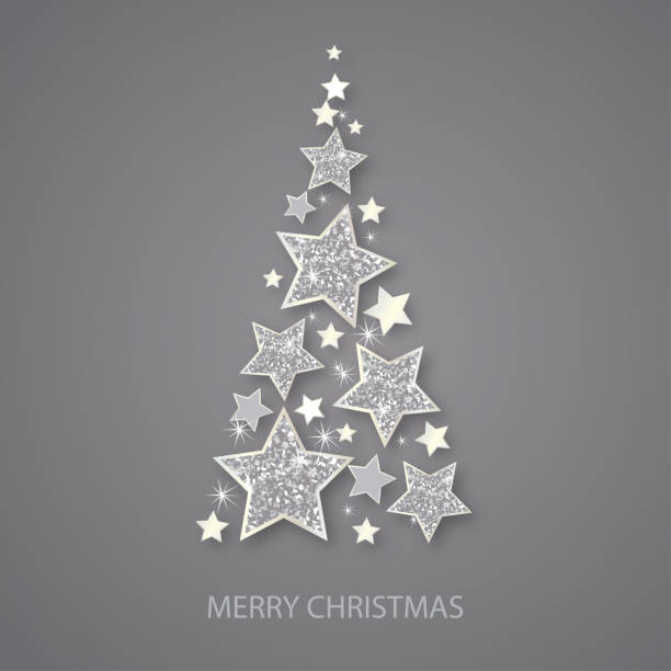 60b3da407f61 Vector christmas abstract fir tree of shining silver stars. Glowing Glitter  background with silver stars