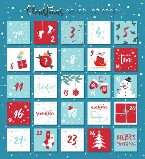 illustrations, cliparts, dessins animés et icônes de calendrier de l'avent vectoriel de noel. - calendrier de l'avent