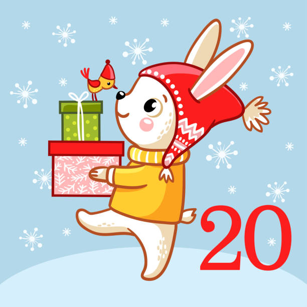 vector christmas advent calendar. - kids holding hands stock illustrations
