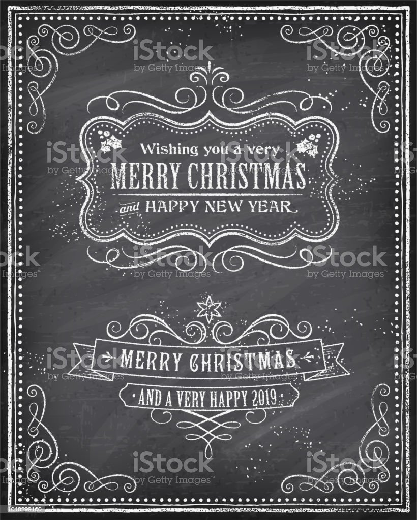 Vector Christmas Greeting Card with Chalk drawn \'Merry Christmas and...
