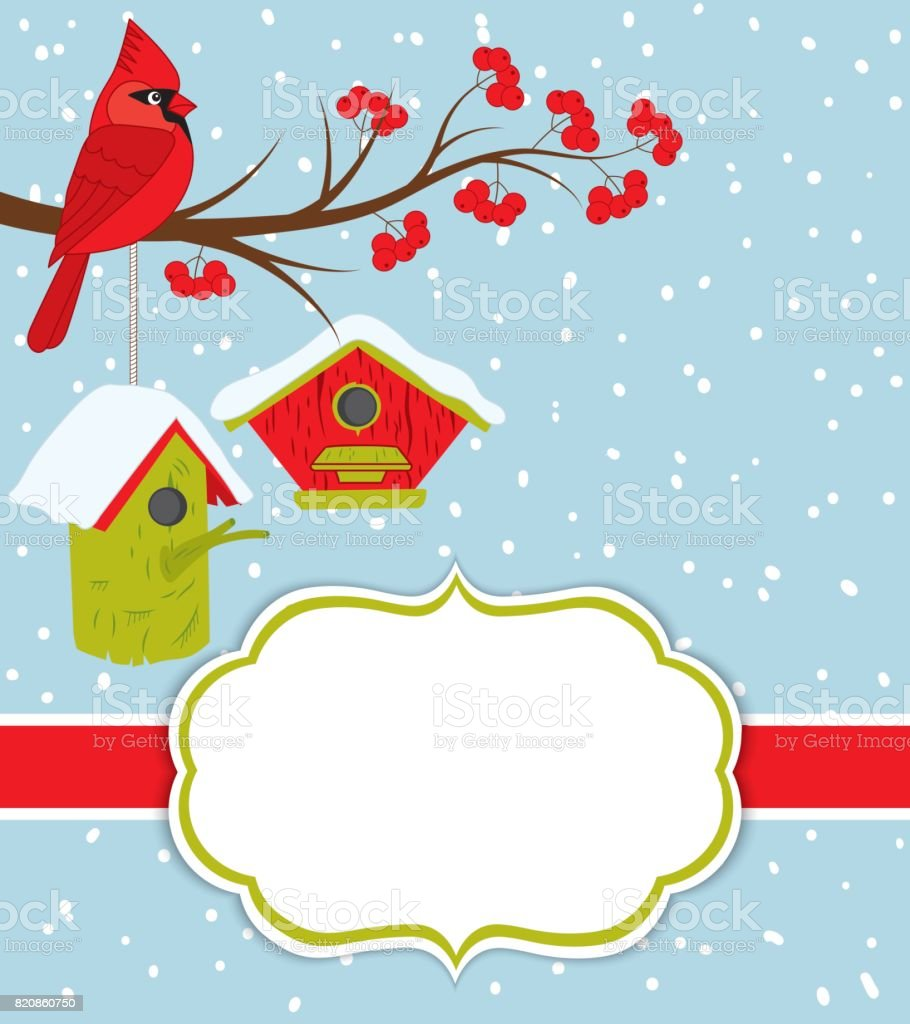 vector christmas and new year card template with cardinal birdhouses