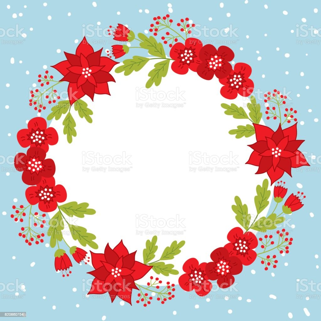 vector christmas and new year card template with wreath and
