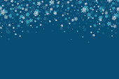 Vector Christmas and New Year snowflakes background elements in flat style