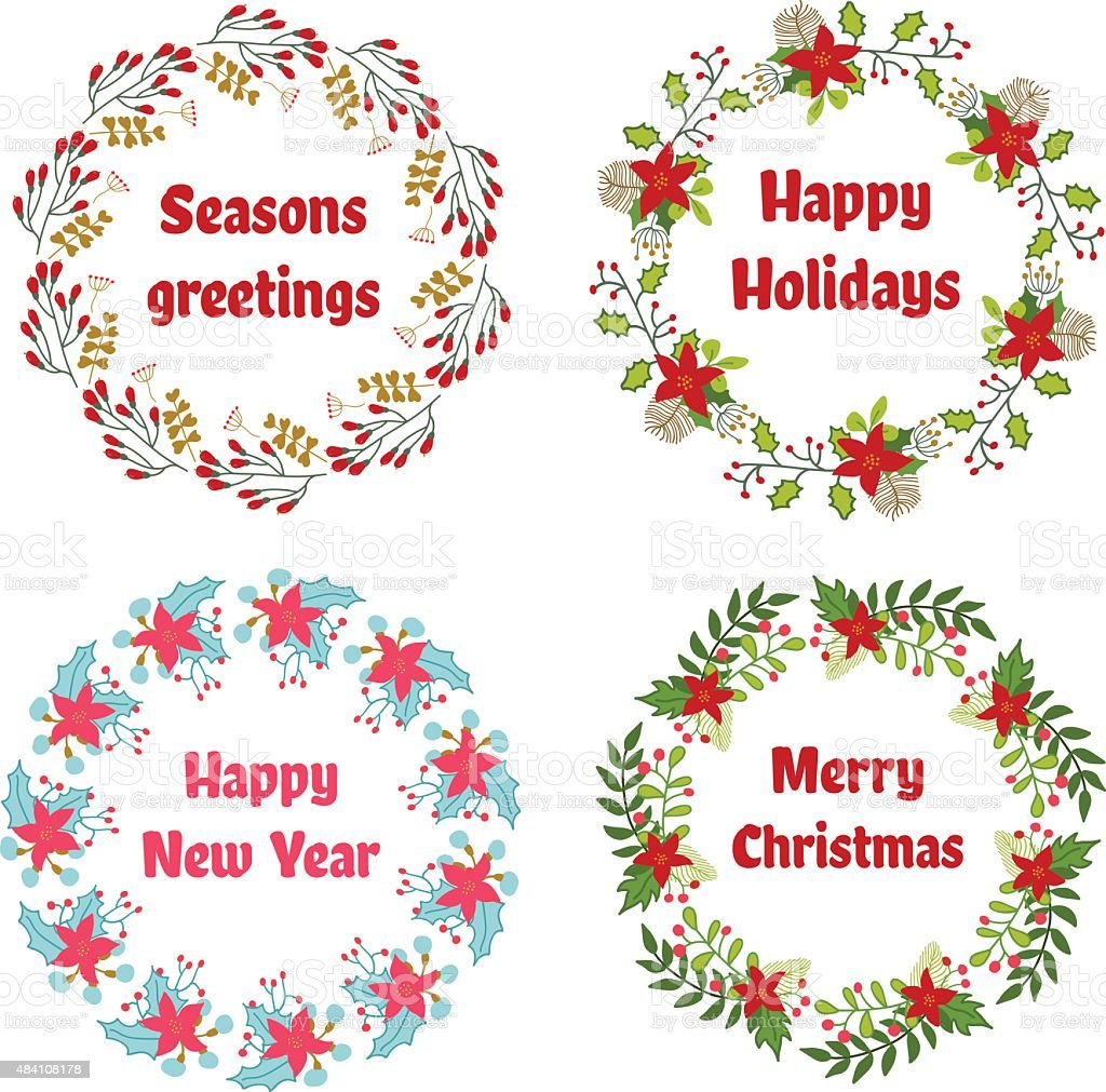 Vector Christmas And New Year Wreath Set With Vintage Flowers Stock