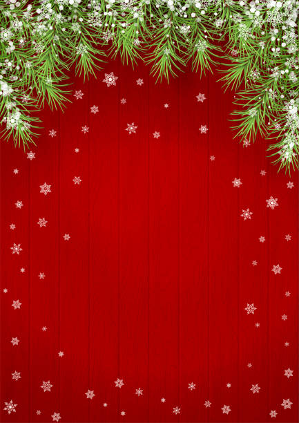 Vector Christmas Background Christmas background with fir branches on red wooden background christmas backgrounds stock illustrations