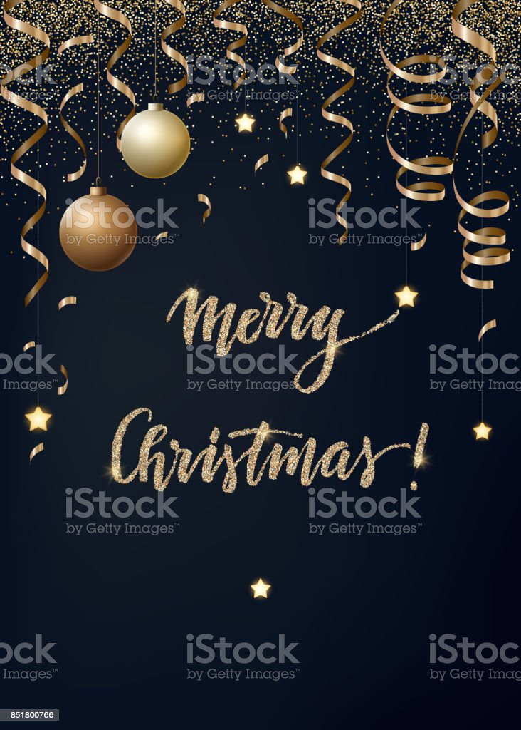 Vector Christmas background with gold serpentines, glitter, confetty and cristmas balls on a dark background vector art illustration