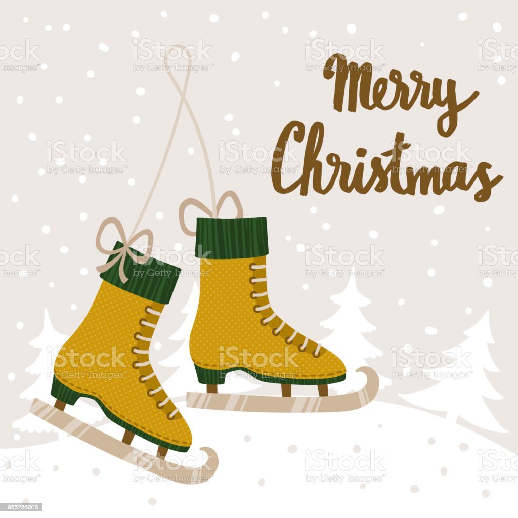 Vector Christmas Background With Ice Skates Winter Landscape Scene ...