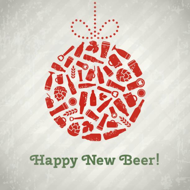 vector christmas ball beer poster. - jumping stock illustrations