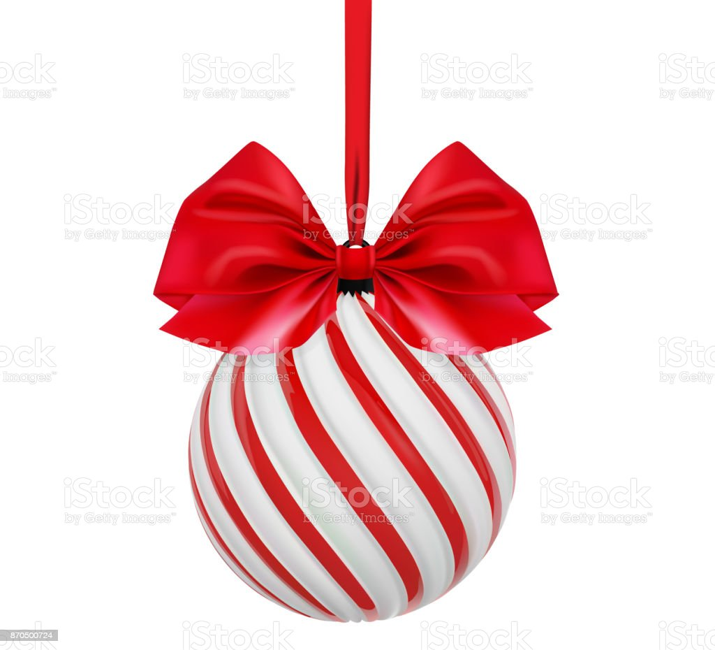 vector christmas ball in white and red color with red bow and ribbon twisted christmas
