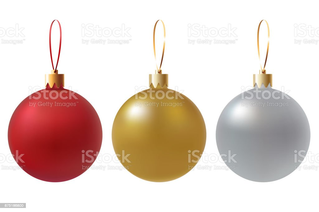 Vector Christmas Balls Set Isolated On White Transparent Background Red Gold Silver Colors Realistic Christmas Decorations Traditional Element Of The