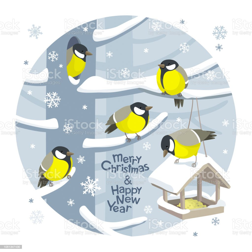 Vector Christmas birds and bird feeder Christmas image vector art illustration