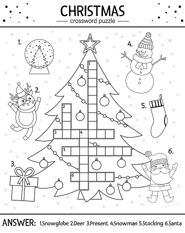 Vector Christmas black and white crossword puzzle for kids. Simple quiz with winter holiday objects for children. Educational activity or coloring page with traditional New Year elements.