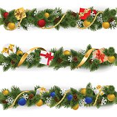 Vector Christmas fir borders decorated with golden beads and ribbon, baubles, pinecones, snowflakes and gifts, isolated on white background