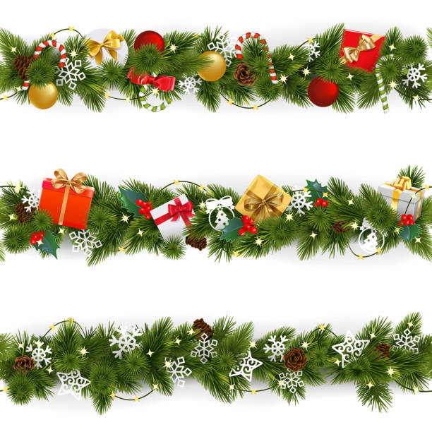vektör noel sınır garland kümesiyle - christmas decorations stock illustrations