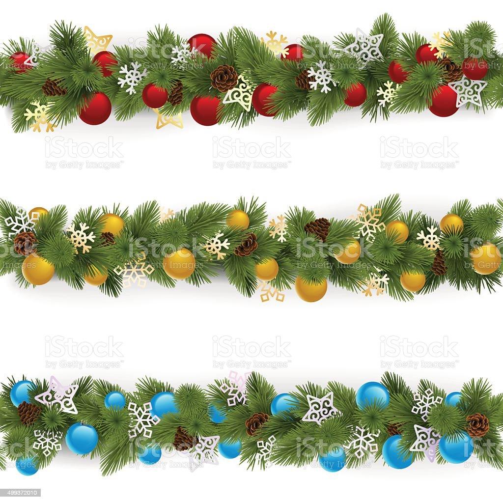 Vektor Weihnachten Grenzen-Set 4 – Vektorgrafik