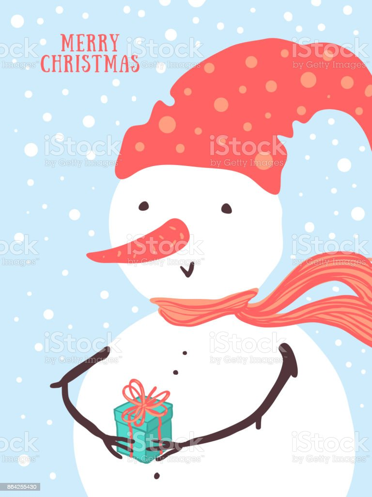 Vector Christmas card design with holidays funny snowman, gift, snowflakes. Christmas and New Year background for design royalty-free vector christmas card design with holidays funny snowman gift snowflakes christmas and new year background for design stock vector art & more images of bird