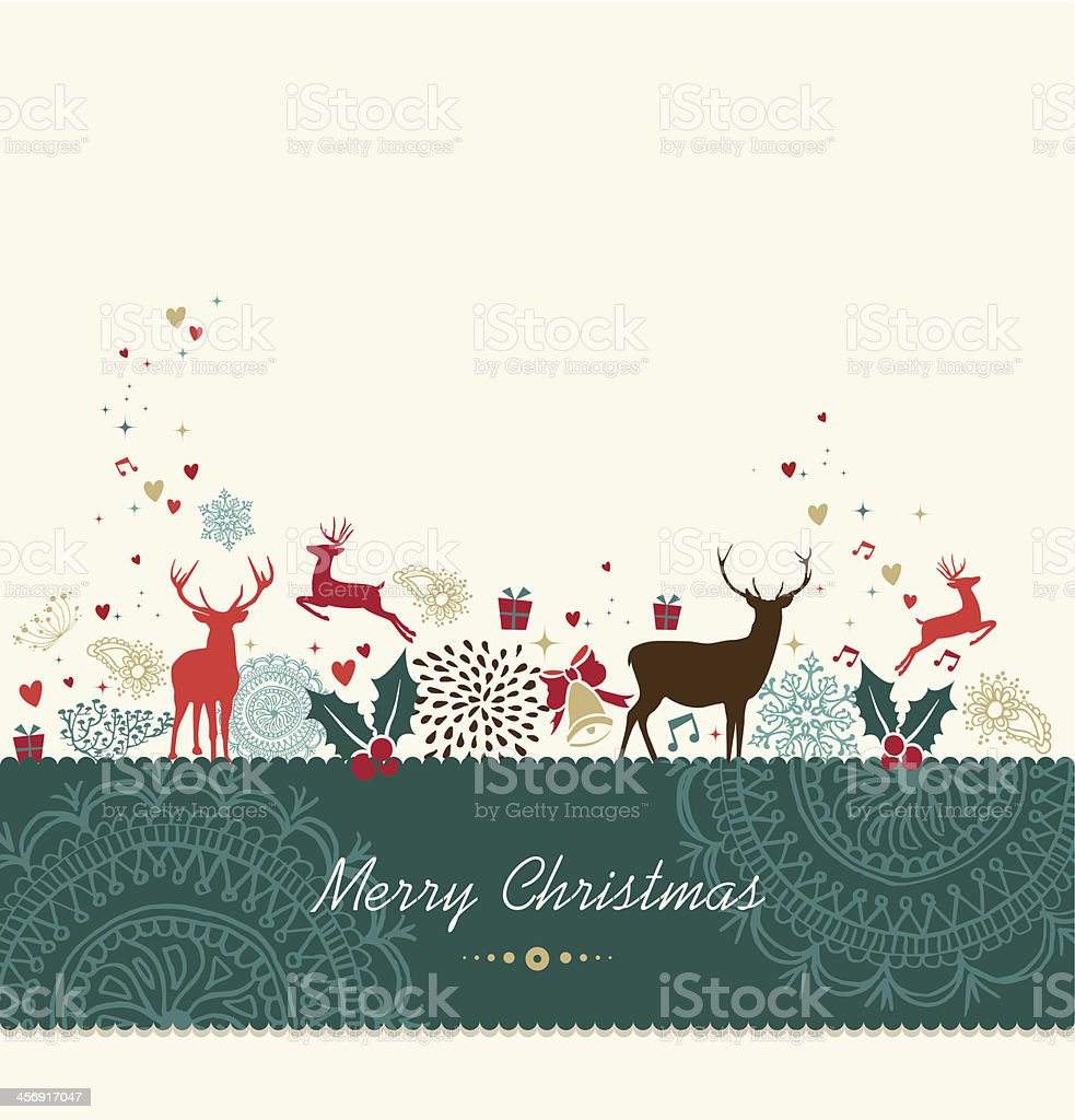 Vector Christmas card design with reindeer royalty-free stock vector art