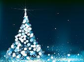 Vector Christmas tree greeting card.