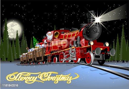 istock Vector Christmas card with cartoon Santa Express 1181842016