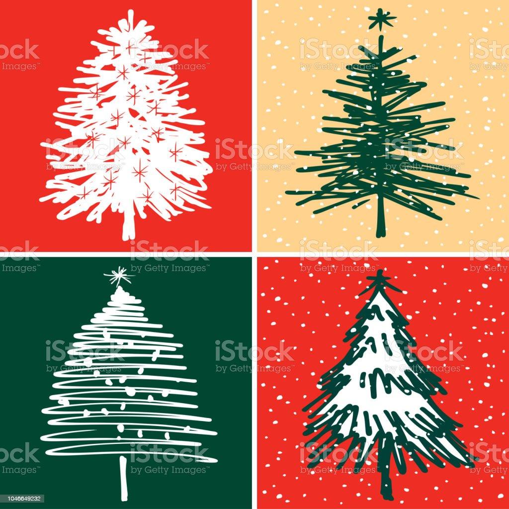 vector christmas cards with fir trees royalty free vector christmas cards with fir trees stock - Art Christmas Cards
