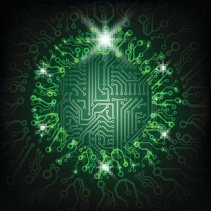 Vector Christmas circuit board green wreath.