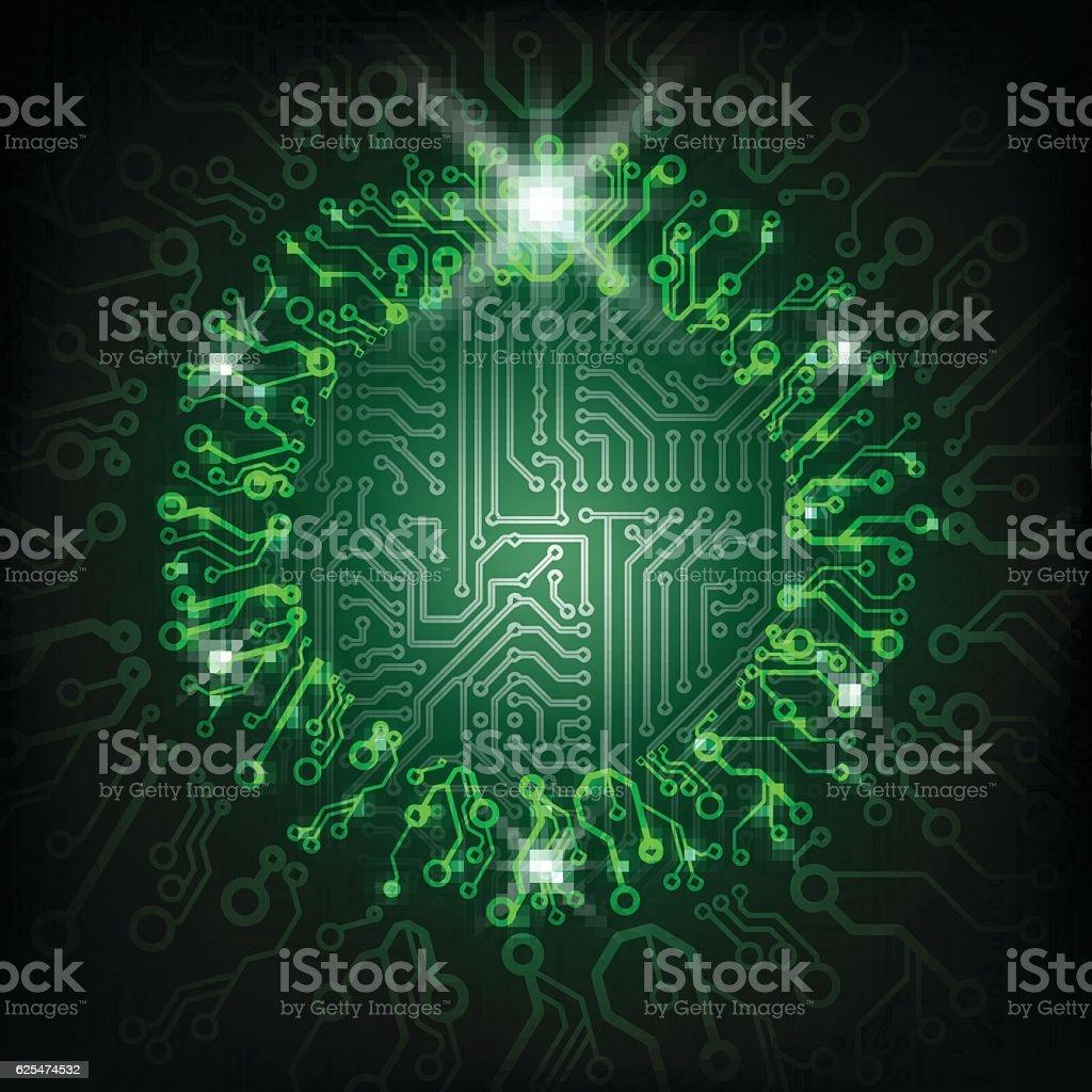 Vector Christmas circuit board green wreath. vector art illustration