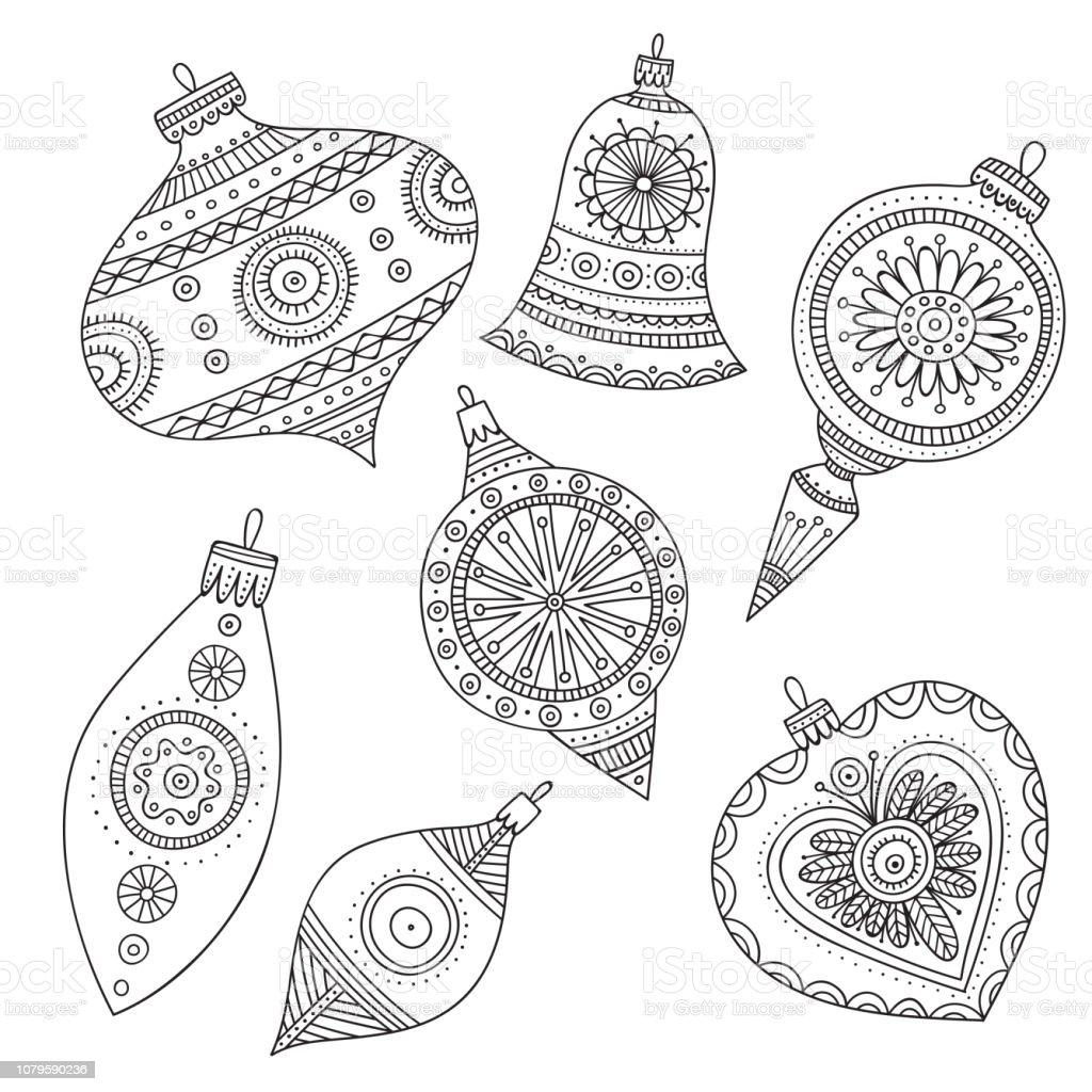 Imagenes De Adornos De Navidad Para Colorear.Ilustracion De Vector De Navidad Para Colorear Adornos De
