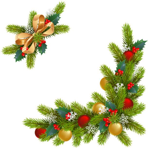 Vektor Ecke Weihnachtsschmuck – Vektorgrafik