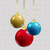 Vector Christmas decoration - colorful baubles red, blue and gold