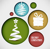 Vector christmas decoration made from white paper stripes in circles