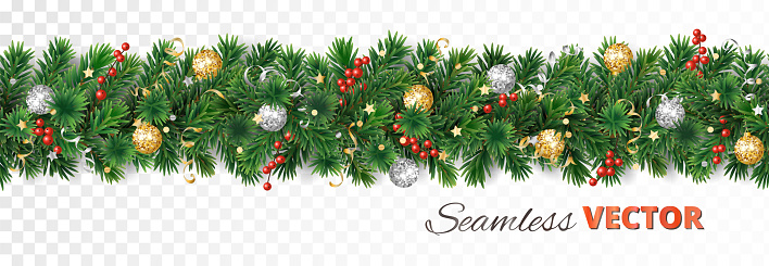 Vector Christmas decoration. Pine tree garland with ornaments