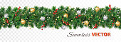 istock Vector Christmas decoration. Pine tree garland with ornaments 1263562013